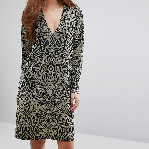 Ganni Schiffer Glitter Print Long Sleeve Dress - Black