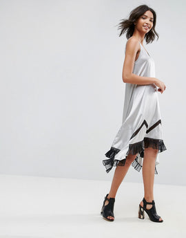 To Be Adored Ada Silk Asymmetric Slip Dress with Lace Hem - Silver