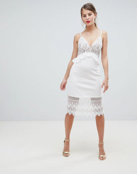 French Connection Strappy Lace Midi Dress - Nude