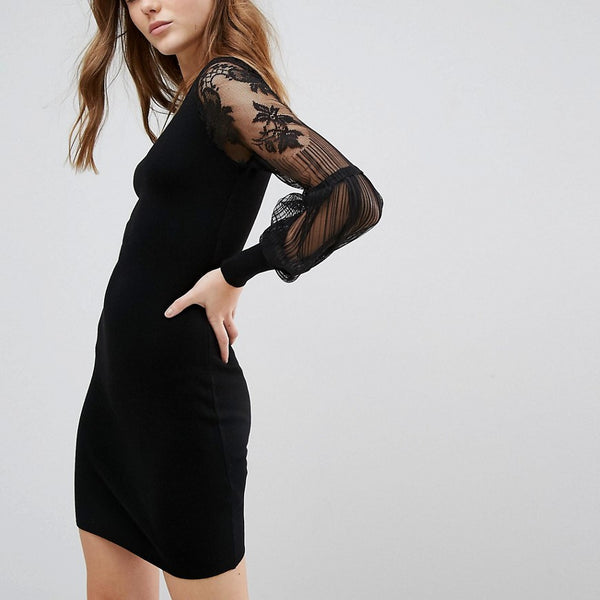 New Look Lace Sleeve Jumper Dress - Black