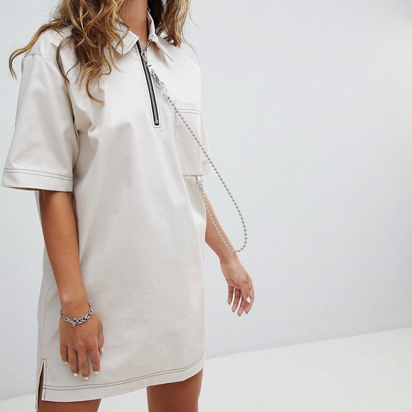 The Ragged Priest Woven T-Shirt Dress With Ball Chain - Stone