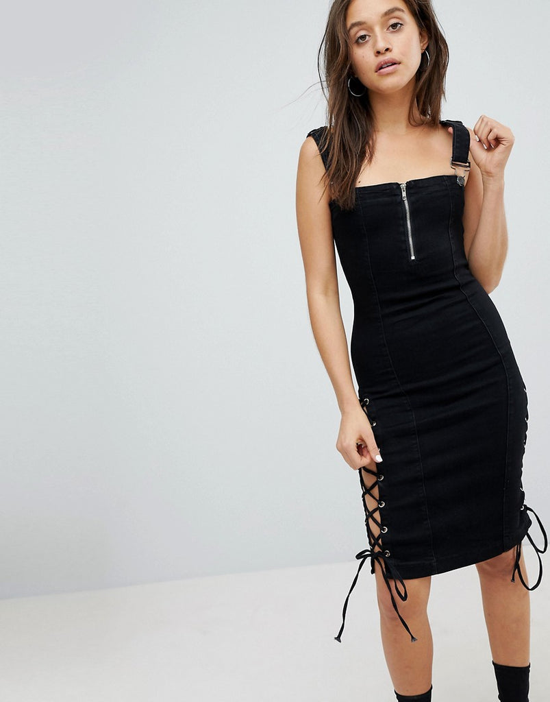 Liquor N Poker Denim Midi Dress with Lace Up Detail - Washed black