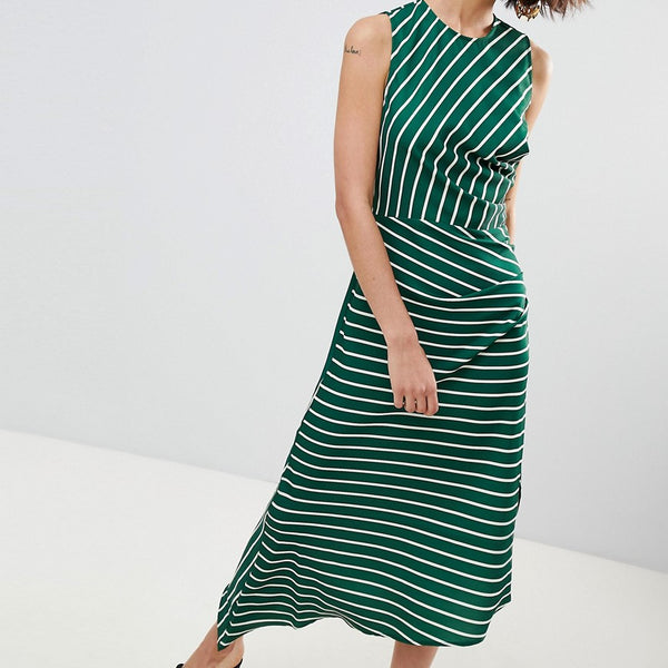 Warehouse Asymmetric Hem Stripe Sleeveless Dress - Green and white
