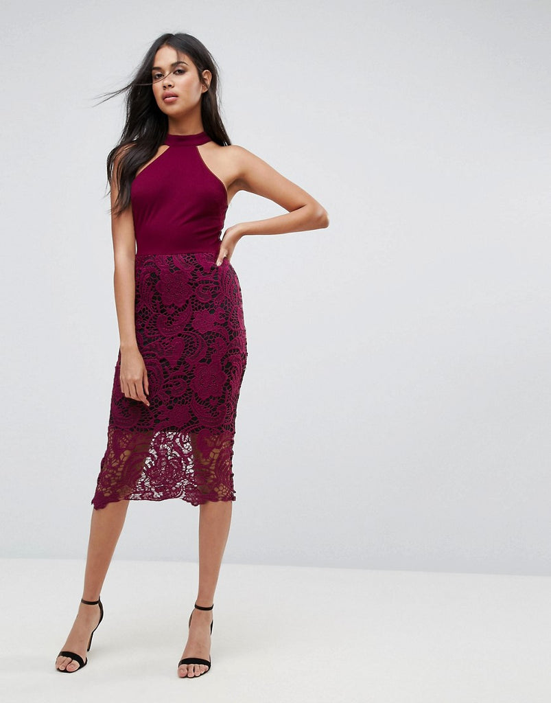 AX Paris Racer Neck Midi Dress With Crochet Lace Skirt And Contrast Lining - Plum