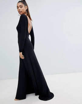 Fashionkilla open back maxi dress in black - Black