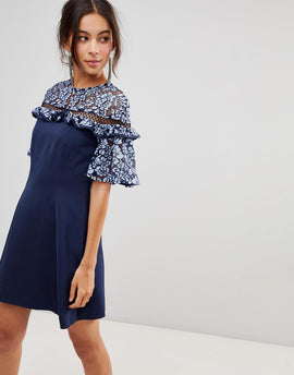 Keepsake Floral Lace Sleeve Dress - Dusk blue