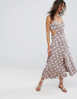 Flynn Skye Mallory Cut Out Midi Dress - Stone bunches