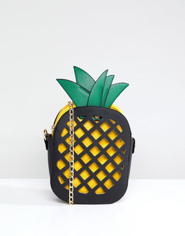 7X Pineapple Novelty Across Body Bag - Black