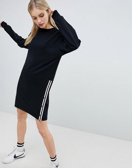 Bershka Long Sleeve Jersey Dress With Popper Side - Black