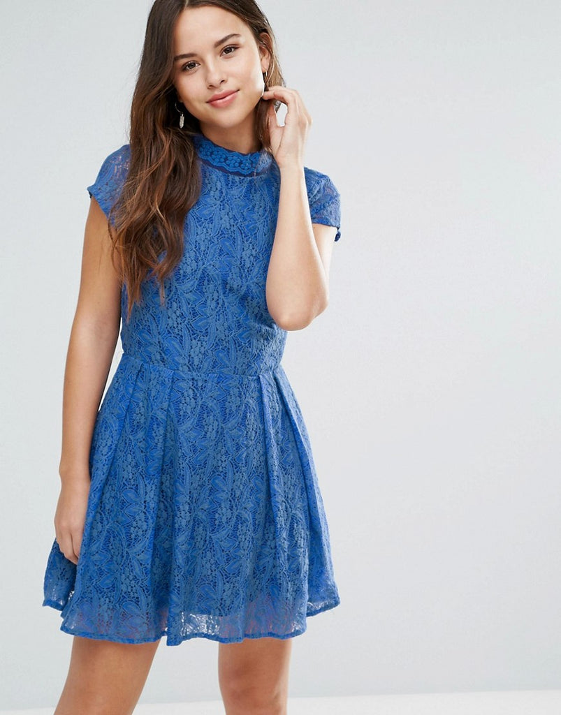 Louche Nichole Lace Dress With Embellished Neckline - Blue