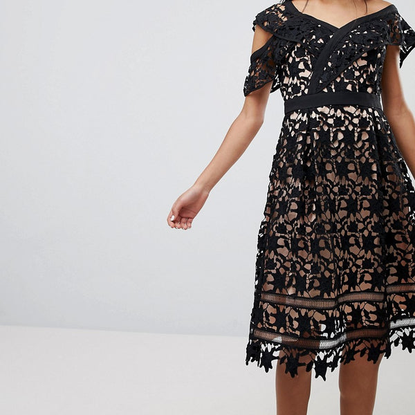 Adelyn Rae Whitney One Shoulder Lace Dress - Black/nude