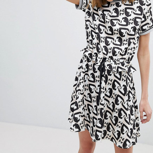 Paul & Joe Sister Cat Print Mini Dress - Skin