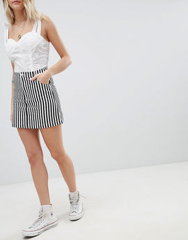 Emory Park Mini Skirt In Stripe - Black and white
