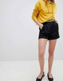 Bershka Tailored Short In Black - Black