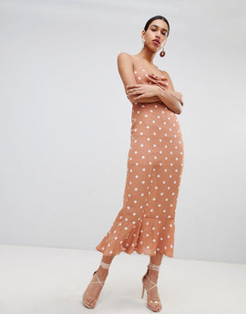 Fashion Union Tie Back Maxi Dress In Vintage Spot - Apricot spot