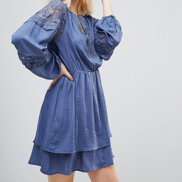 Hazel Lace Panelled Long Sleeved Dress - Denim