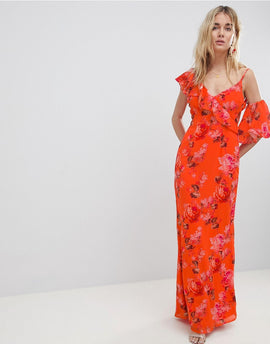 Hope & Ivy Asymmetric Ruffle Shoulder Detail Maxi Dress In Floral Print - Orange print