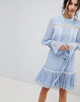 Forever New Shirred Dress With Frill Hem - Powder blue