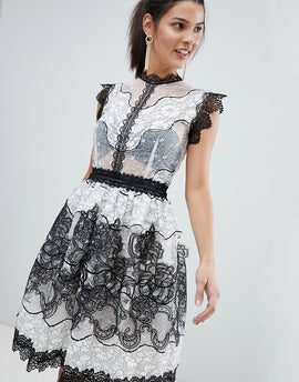 Bronx and Banco Monochrome Lace Mini Dress - Black