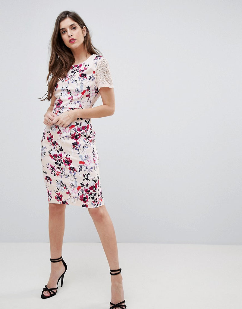 French Connection Floral and Lace Bodycon Dress - Barley pink