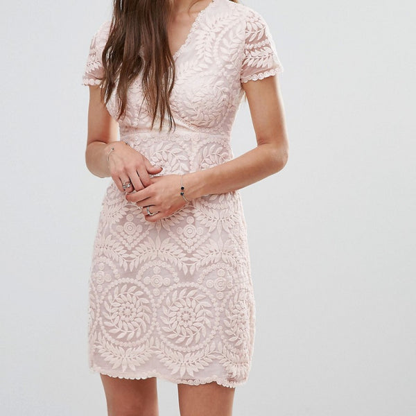 Darling Short Sleeve Lace Shift Dress - Nude