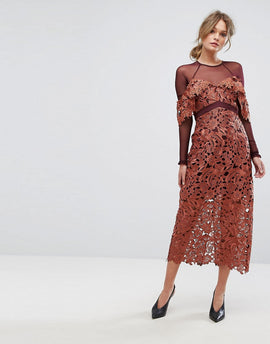 Three Floor Midi Dress in Crochet Lace with Mesh Sleeves - Rust