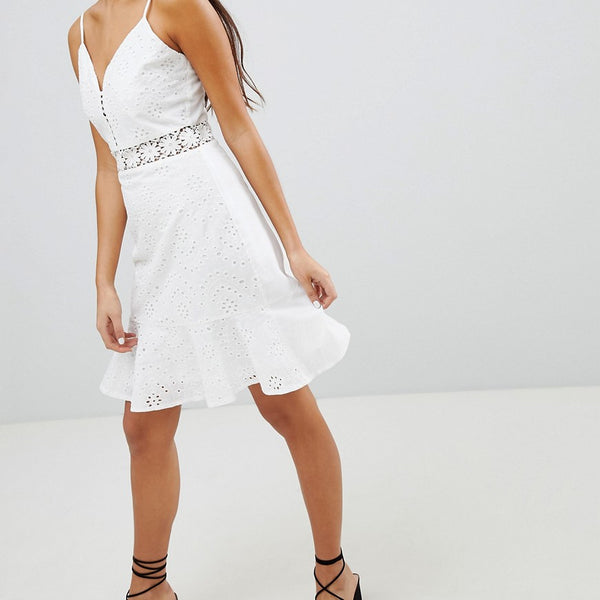 Parisian Broderie Cami Dress With Frill Hem - White