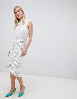 Oasis Pinstripe Paperbag Skirt - Black and white