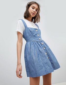 Free People Chambray Buttondown Dress - Blue