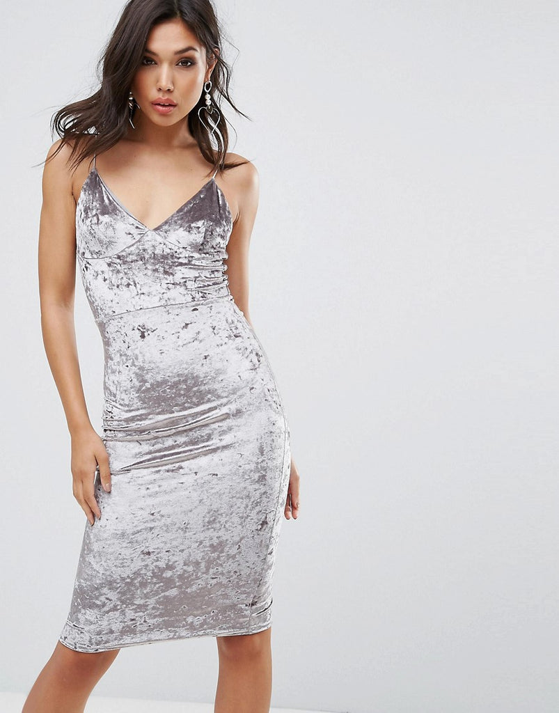 Club L Cami Strap Midi Bodycon Dress In Velvet - Silver