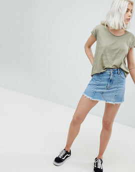 Pull&Bear Frayed Edge Denim Mini Skirt - Blue