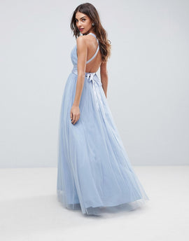 ASOS PREMIUM Tulle Maxi Prom Dress With Ribbon Ties - Dusky blue