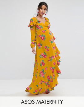 ASOS Maternity Long Sleeve Wrap Maxi Dress in Bold Floral - Yellow base