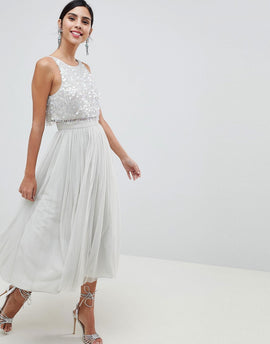 ASOS DESIGN Tulle Prom Midi Dress With Delicate Embellished Droplets - Ice grey