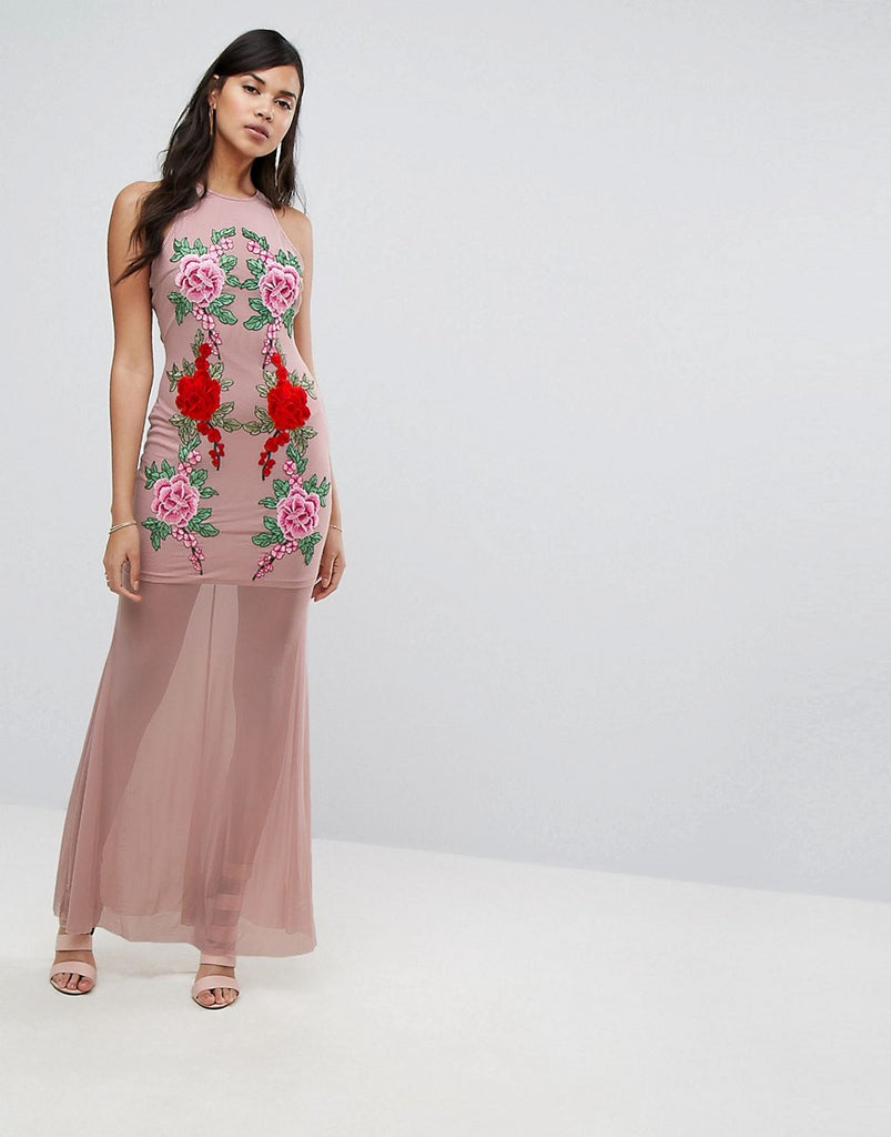 NaaNaa Fishtail Maxi Dress With Lace Applique - Nude