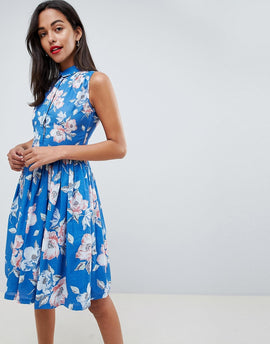 French Connection Floral Shirt Dress - Vintage blue