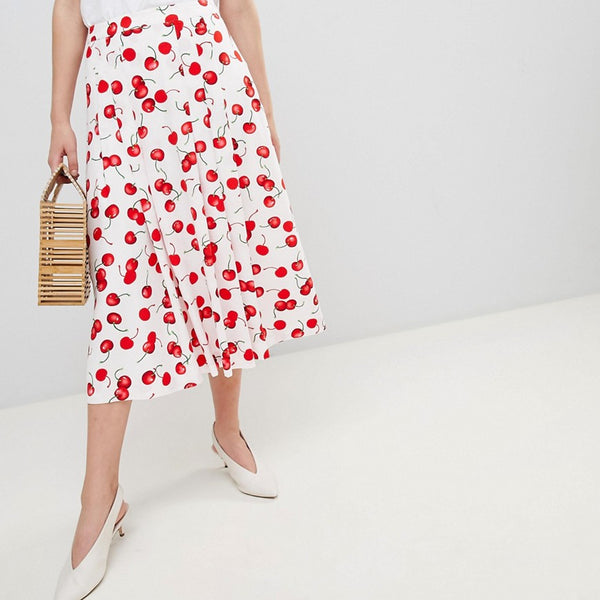 Essentiel Antwerp Midi Skirt in Cherry Print - Off white