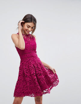 Adelyn Rae Dylan Lace Fit and Flare Dress - Magenta