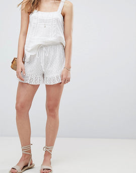 ASOS DESIGN shorts in summer cotton broderie - White
