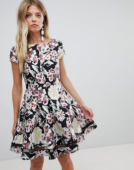 French Connection Floral Jacquard Skater Dress - Black multi