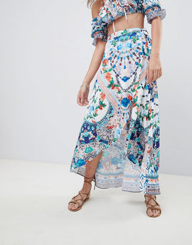 Kiss The Sky Maxi Wrap Skirt In Festival Print Co-Ord - Multi