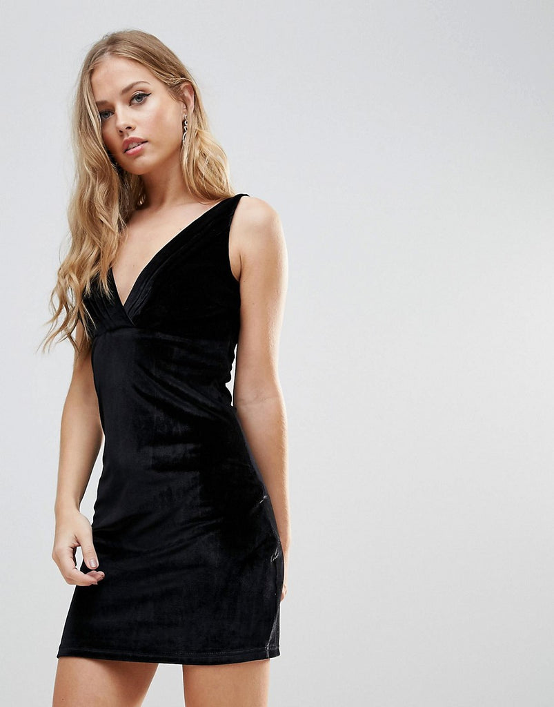 Wyldr Distractions Velvet Mini Dress With Front Pleating Detail - Black