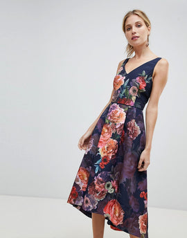 Oasis Occasion Floral Print V Neck Skater Prom Dress - Multi blue