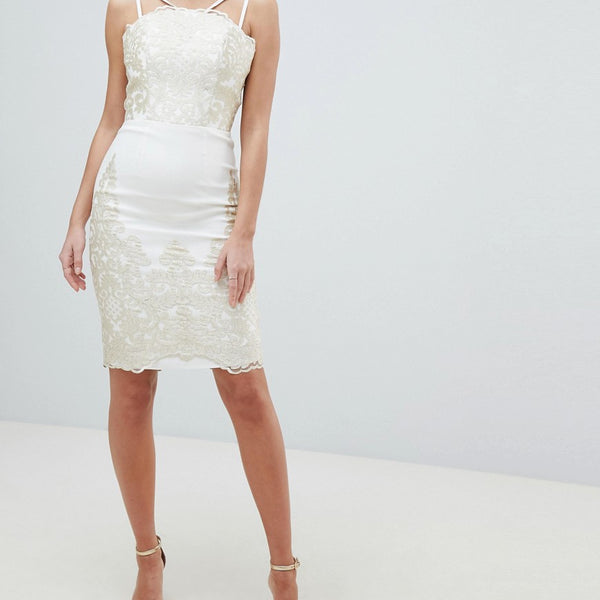 Chi Chi London Lace Detail Pencil Midi Prom Dress with V Back - Cream/gold