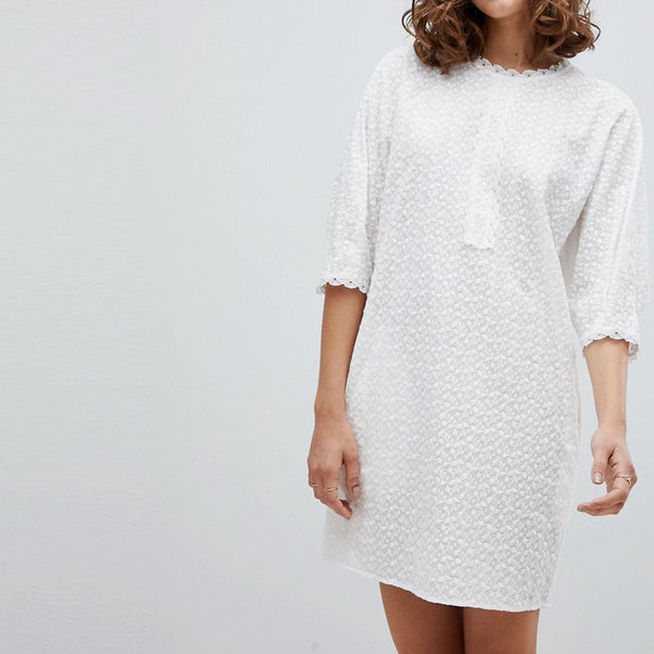 Vanessa Bruno Shift Dress in Broderie Anglaise - Blanc 001