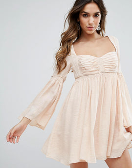 Free People Duchess Scallop Hem Party Dress - Pink fog