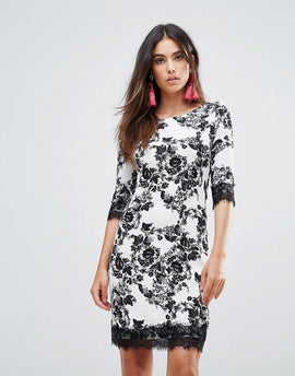 Zibi London Floral Shift Dress With Lace Trim - Black and white