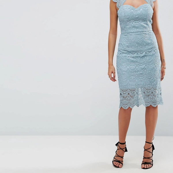 Chi Chi London Crochet Lace Midi Pencil Dress with Scalloped Back - Slate grey
