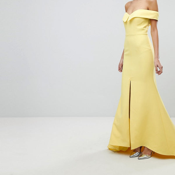 Jarlo Bardot Maxi Dress With Thigh Split And Train Detail - Lemon