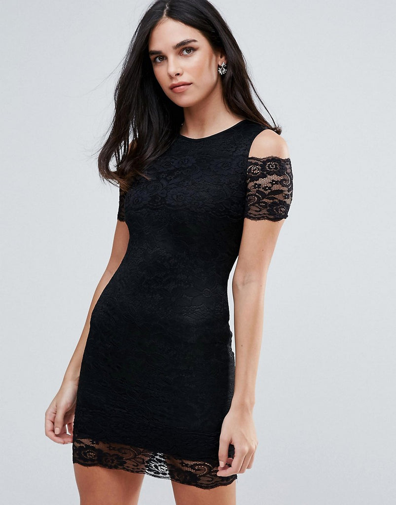 AX Paris Cold Shoulder Lace Bodycon Dress - Black